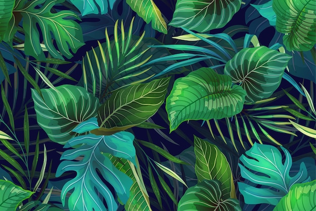 Seamless pattern with exotic tropical plants in modern style
