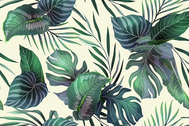 Seamless pattern with exotic tropical plants
