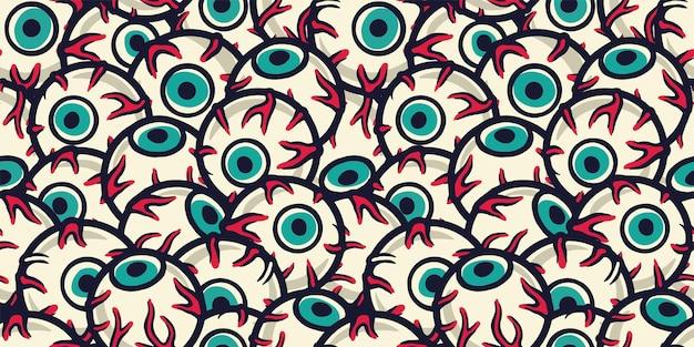 할로윈 휴가 디자인 10월 파티 배너 포스터를 위한 안구 또는 눈이 있는 원활한 패턴