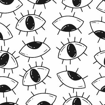 落書きスタイルの目とのシームレスなパターンベクトル背景黒と白のイラスト