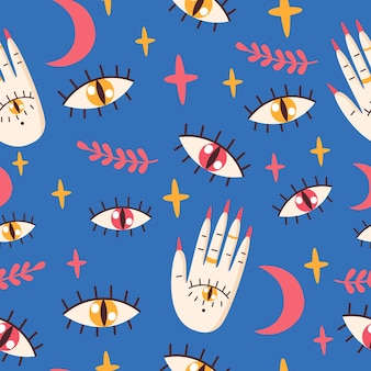 Seamless pattern with eyes, palm.vector illustration.