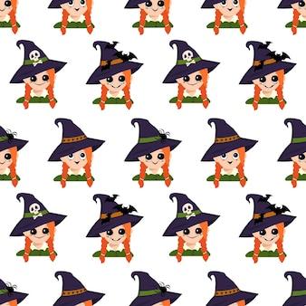 Бесшовный фон с лицом девушки с рыжими волосами, большими глазами и широкой счастливой улыбкой в остроконечной шляпе ведьмы с пауком, черепом или летучей мышью. украшение хэллоуина, праздничный принт на праздник