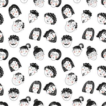 Бесшовный фон с лицами людей handdrawn в стиле каракули векторные иллюстрации