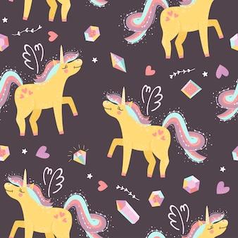 Seamless pattern with fairy unicorns