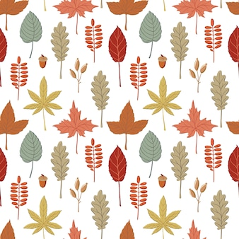 Seamless pattern with fall, autumn colored leaves, twigs and spikelets
