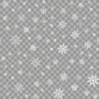 Seamless pattern with falling snow or snowflakes. Vector