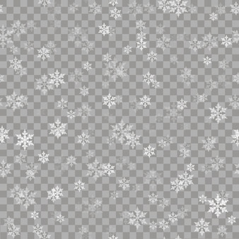 Seamless pattern with falling snow and snowflakes.