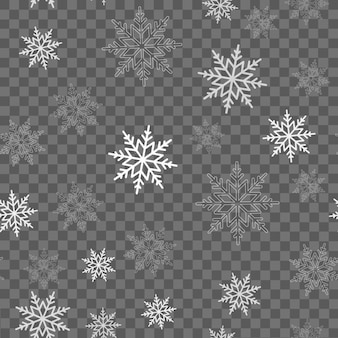 Seamless pattern with falling snow or snowflakes