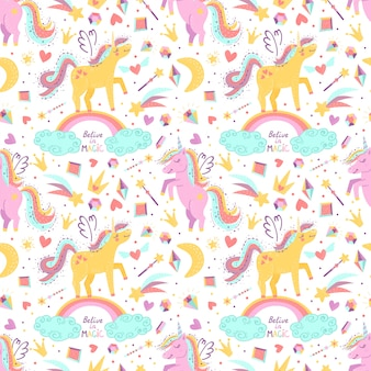 Seamless pattern with fantasy unicorns