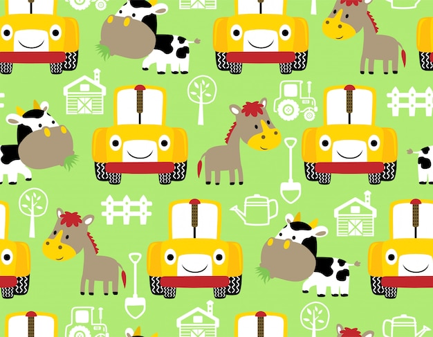 Seamless pattern with farm animals cartoon and tractor