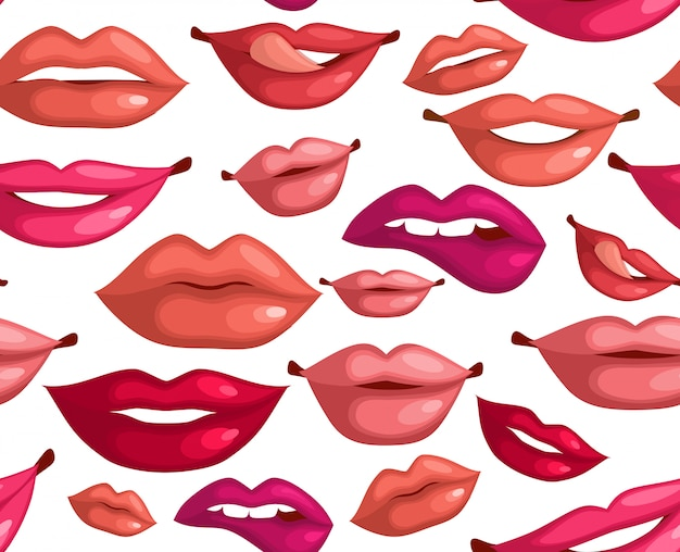 Seamless pattern with fashion lips