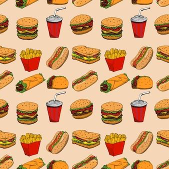 ファーストフードとのシームレスなパターン。ハンバーガー、ホットドッグ、ブリトー、サンドイッチ。ポスター、包装紙の要素。図