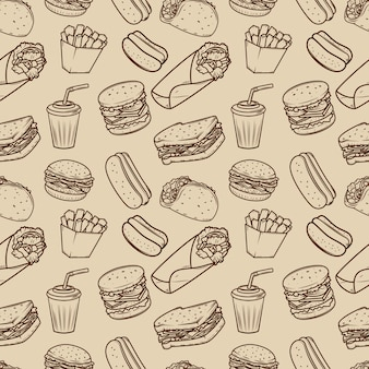 Seamless pattern with fast food illustrations pattern.   element for poster, wrapping paper.  illustration