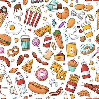 ファーストフードとのシームレスなパターン。色のハンバーガー、チョコレート、ポップコーンのベクトル落書きイラスト。