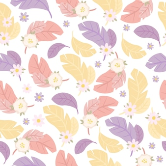 Бесшовные модели с перьями и цветами