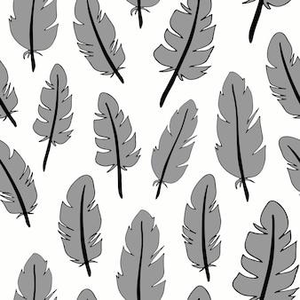 깃털으로 완벽 한 패턴입니다. 디자인을 위해 손으로 그린 벡터 깃털