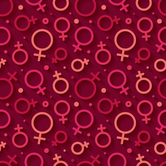 Seamless pattern with the female gender symbol.