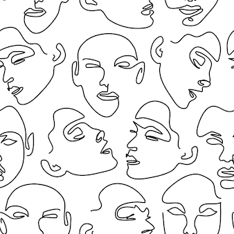Seamless pattern with female portraits. one line drawing.
