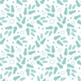 고사리 잎 꽃과 식물 요소와 원활한 패턴 차가운 그늘 벡터 일러스트 레이 션