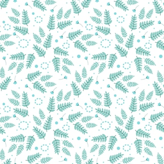 Seamless pattern with fern leaves, flowers and botanical elements in cold shade.vector illustration