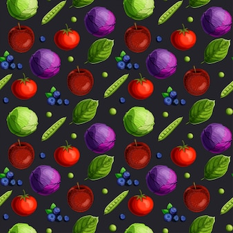 Seamless pattern with fesh vegetables