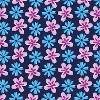 Seamless pattern with fflowers leaves natural