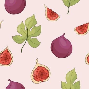 Бесшовный фон с инжиром и листьями. векторная иллюстрация