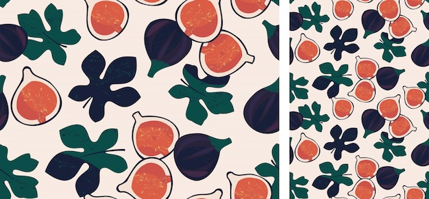 Seamless pattern with figs and leaves
