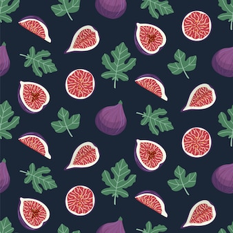 Seamless pattern with figs and leaves.
