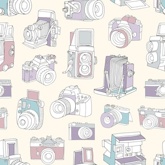 Seamless pattern with film and digital photographic or photo cameras