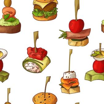Безшовная картина с едой пальца. эскиз стиля повторяется фон. брускетта, бутерброды, канапе и тапас.