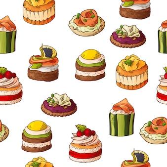 フィンガーフードとのシームレスなパターン。スケッチスタイルの繰り返し背景。ブルスケッタ、サンドイッチ、カナッペ、タパス。