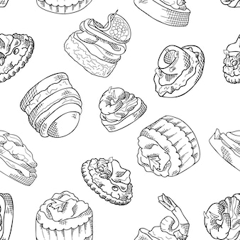 Seamless pattern with finger food. sketch style repeated background. bruschetta, sandwich, canapes and tapas.