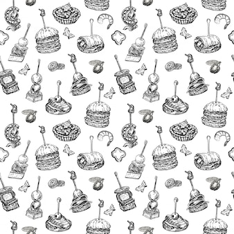 Seamless pattern with finger food. sketch style repeated background. sandwich, canapes, bruschetta and tapas. illustration