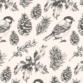 Seamless  pattern with fir branches berries