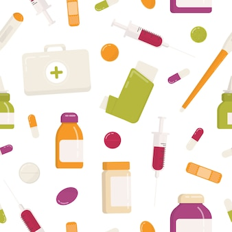 Seamless pattern with first aid kit, inhaler, pills, drugs, medications, syringe and other medical tools on white background. flat cartoon colorful illustration for wrapping paper, wallpaper.