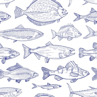 Seamless pattern with fish hand drawn with contour lines on white background. backdrop with marine animals or aquatic creatures living in sea, ocean, freshwater pond. monochrome illustration.