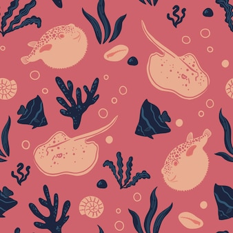 Seamless pattern with fish stingray fugu ocean life and sea creatures nautical background