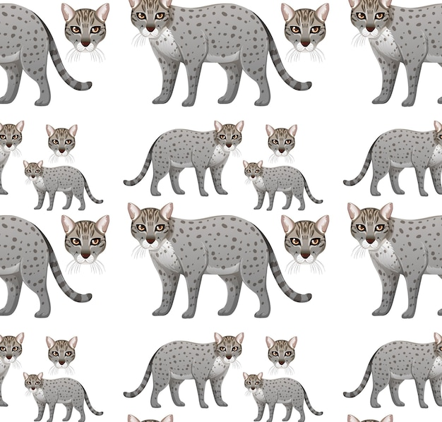 Seamless pattern with fishing cat in cartoon style