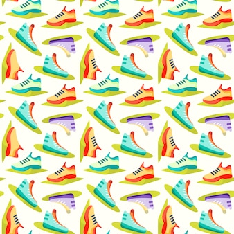 Seamless pattern with fitness icons, dumbbells and kettlebell, green icons on white