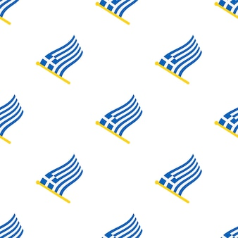 Seamless pattern with flags of greece on flagstaff on white background vector illustration