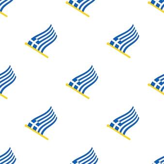 Бесшовный фон с флагами греции на флагштоке на белом фоне векторные иллюстрации