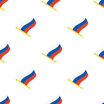 Бесшовный фон с флагами россии на флагштоке на белом фоне векторные иллюстрации