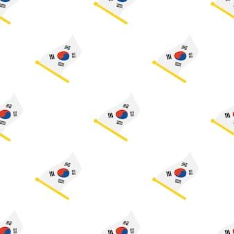 白い背景の上のフラッグスタッフに韓国の旗とのシームレスなパターンベクトル図