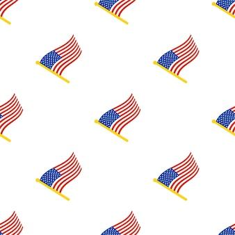 白い背景のflagstaffに米国の旗とのシームレスなパターンベクトル図