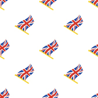 Seamless pattern with flags of united kingdom on flagstaff on white background vector illustration