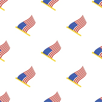 Seamless pattern with flags of united states on flagstaff on white background vector illustration