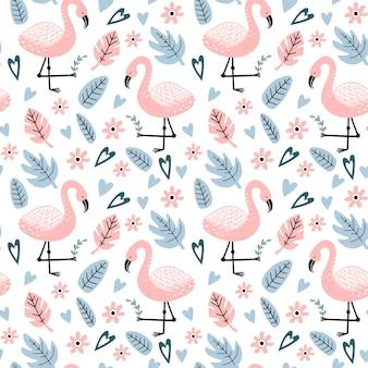 フラミンゴと手描きのシームレスなパターン