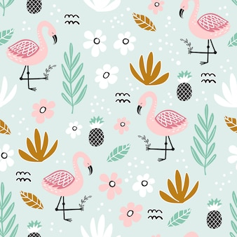 Seamless pattern with flamingo and hand-drawn elements
