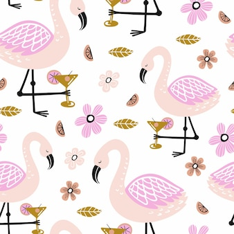 Seamless pattern with flamingo and hand drawn